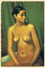 Обнаженная женщина на зеленом фоне