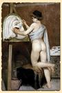 Молодой художник с греческой маской